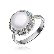 Fabulous Platinum Plated with Cubic Zirconia Pearl Ring
