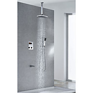 Contemporary Thermostatic Brass LED Digital Display Shower Faucet with 8 inch Square Showerhead + Handshower