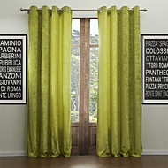 Modern Two Panels Solid Green Living Room Rayon Curtains Drapes