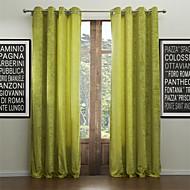 שני לוחות מודרניים וילונות וילונות זהורית סלון ירוק מוצקים