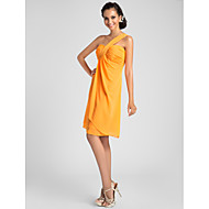 Knee-length Chiffon Bridesmaid Dress - Orange / Royal Blue / Ruby / Champagne / Grape Plus Sizes / Petite A-line / PrincessOne Shoulder /