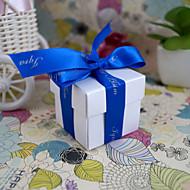 boîte de faveur carré en blanc perle (jeu de 24)