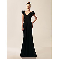 TS Couture Formal Evening / Military Ball Dress - Black Plus Sizes / Petite Trumpet/Mermaid V-neck / Off-the-shoulder Sweep/Brush Train Chiffon