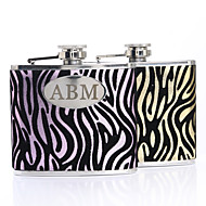 Gift Groomsman /Bridesmaid Personalized Zebra-stripe 5-oz Flask(More Colors)