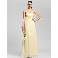 Floor-length Chiffon Bridesmaid Dress Sheath / Column Strapless / Sweetheart Plus Size / Petite with Bow(s) / Criss Cross