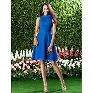 Knee-length Chiffon Bridesmaid Dress - Royal Blue Plus Sizes / Petite A-line High Neck