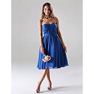 Tea-length Chiffon Bridesmaid Dress - Royal Blue Plus Sizes / Petite A-line / Princess Strapless / Sweetheart