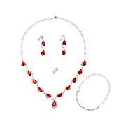 Beauty Alloy med akryl Pearl kvinner smykker sett inkludert halskjede, øredobber, ring