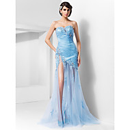 TS Couture Formal Evening / Military Ball Dress - Sky Blue Plus Sizes / Petite Sheath/Column Sweetheart / Spaghetti Straps Sweep/Brush Train Tulle
