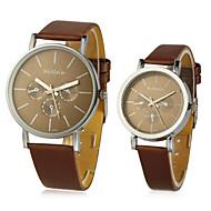 PU Round Quartz Movement Couples' Watch(More Colors)