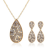 Luxurious 18K Gold Plated And  Alloy Czech Rhinestones Jewelry Set Including Necklace And Earrings
