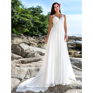 Sheath/Column Plus Sizes Wedding Dress - Ivory Chapel Train V-neck Chiffon
