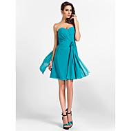 Homecoming Bridesmaid Dress Knee Length Chiffon A Line Sweetheart Dress