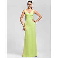 Floor-length Chiffon Bridesmaid Dress - Sage Plus Sizes Sheath/Column V-neck