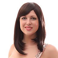 Capless 20% Human Hair Medium Straight Brown Hair Wigs