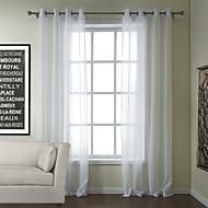 katoen effen wit pure gordijn (twee panelen)