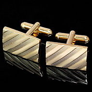 Gift Groomsman Gold Oblique Stripe Cufflinks