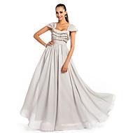 Formal Evening / Prom / Military Ball Dress - Silver Plus Sizes / Petite A-line / Princess Square Floor-length Chiffon