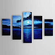 Pintado a mano pintura al óleo del paisaje del mar se extendía Frame Set de 5 1306-LS0319