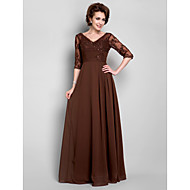 Lanting A-line Plus Sizes / Petite Mother of the Bride Dress - Chocolate Floor-length Half Sleeve Chiffon / Lace