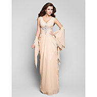 TS Couture® Formal Evening / Military Ball Dress - Open Back Plus Size / Petite Sheath / Column V-neck Floor-length Chiffon with Beading / Side