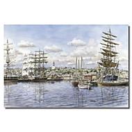 stampato quadri su tela paesaggio Nantucket, ca. 1865 da Stanton manolakas con telaio allungato