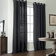 Modern Two Panels Solid Black Bedroom Poly  Cotton Blend Panel Curtains Drapes