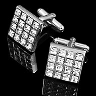 Gift Groomsman Square Silver Cufflinks With Rhinestone