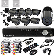 8-kanals D1 Real Time H.264 600TVL High Definition CCTV DVR Kit (8 stk Vanntett dag og natt CMOS kameraer)