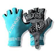 SPAKCT S13G03 Kestävä polyesteri ja Vinylaali materiaalit Half Sormikkaat Design for Polkupyöräily-Blue