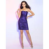 Cocktail Party Dress - Plus Size / Petite Sheath/Column Strapless Short/Mini Satin