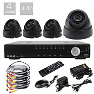 Ultra-4CH D1 Echtzeit H.264 High Definition 600TVL CCTV DVR Kit (4pcs Tag Nacht Dome CMOS Kameras)