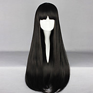 일본어 검정 70cm 긴 똑 바른 고딕 로리타 가발