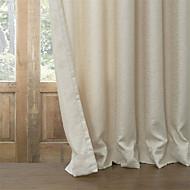 ウィンドウトリートメント 現代風 , 純色 リビングルーム ポリ/コットン混 材料 遮光カーテンドレープ ホームデコレーション For 窓