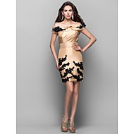 Cocktail Party Dress - Gold Plus Sizes Sheath/Column Off-the-shoulder/Spaghetti Straps Short/Mini Taffeta