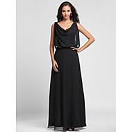 Formal Evening / Military Ball Dress - Black Plus Sizes / Petite Sheath/Column Cowl Floor-length Chiffon