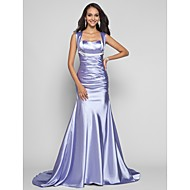 Formal Evening/Military Ball Dress - Lavender Plus Sizes Trumpet/Mermaid Straps Sweep/Brush Train Stretch Satin