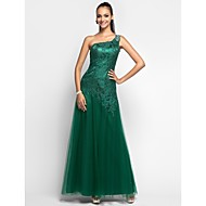 Prom/Military Ball/Formal Evening Dress - Dark Green Plus Sizes Sheath/Column One Shoulder Floor-length Tulle/Lace