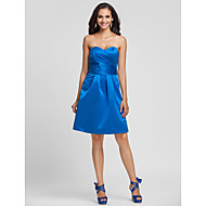 Homecoming Knee-length Satin Bridesmaid Dress - Royal Blue Plus Sizes A-line/Princess Sweetheart/Strapless