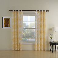 Two Panels Country Floral / Botanical Yellow Living Room Polyester Sheer Curtains Shades