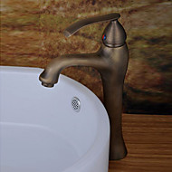 Contemporary Vessel Ceramic Valve Single Handle One Hole with Antique Brass Bathroom Sink Faucet