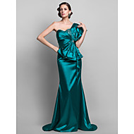 Formal Evening / Military Ball Dress - Jade Plus Sizes / Petite Trumpet/Mermaid One Shoulder Sweep/Brush Train Stretch Satin