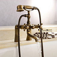 Antique Tub And Shower Clawfoot Handshower Included with  Ceramic Valve Two Holes for  Antique Brass , Shower Faucet Bathtub Faucet