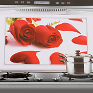 75x45cm Red Rose Pattern olej-voda-Proof Proof Kuchyně Wall Sticker