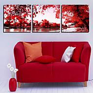 Em Canvas arte da paisagem árvores Red Conjunto de 3