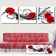 Stretched Canvas Art Floral Red Roses Dancing Set of 3