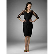 Sheath/Column Plus Sizes Mother of the Bride Dress - Black Knee-length Half Sleeve Chiffon/Lace