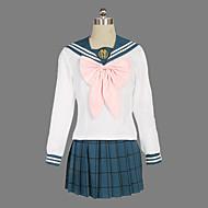 Inspirerad av Dangan Ronpa Sayaka Maizono Video Spel Cosplay Kostymer/Dräkter cosplay Suits / Skoluniformer Randig Vit Lång ärmTopp /