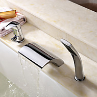 Modern Romeins bad Waterval Inclusief handdouche with  Keramische ventiel Single Handle drie gaten for  Chroom , Badkraan