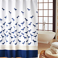 Continental Blue Birds Pattern Waterproof Thick Polyester Shower Curtain